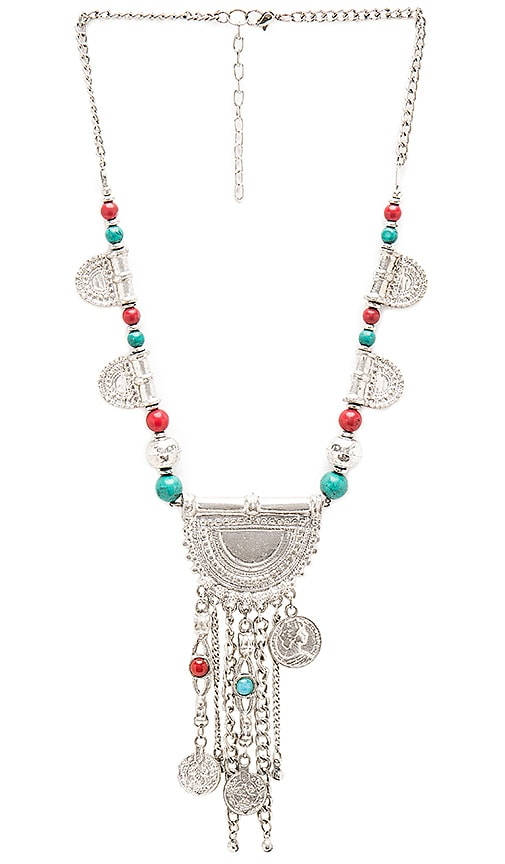 Raga Coin & Fringe Necklace in Silver