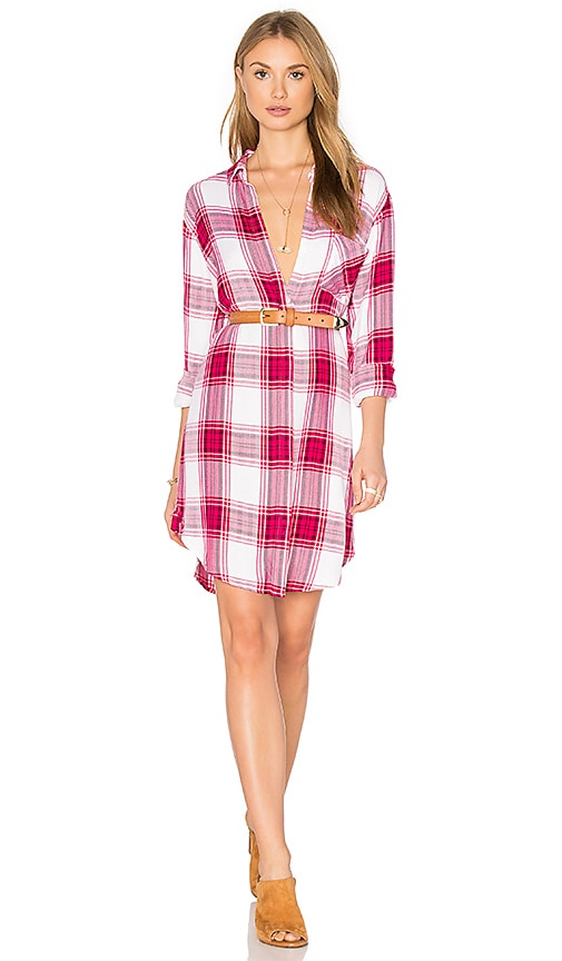 Rails Sawyer Button Down Dress Raspberry & White