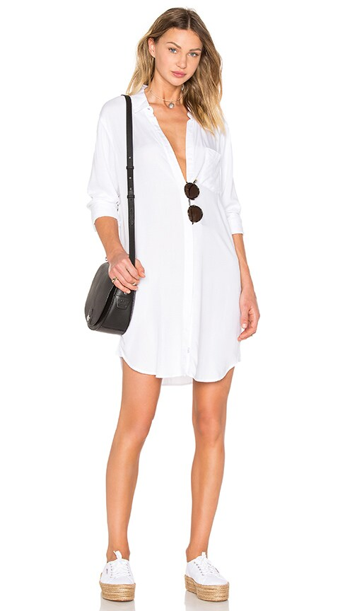 Rails Sawyer Button Down Dress in White