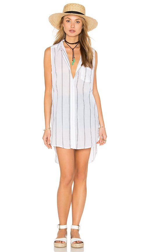 Rails Layla Tank Dress in White & Ash Stripe