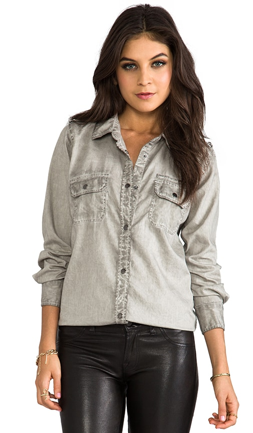 Halle Antique Wash Denim Button Down