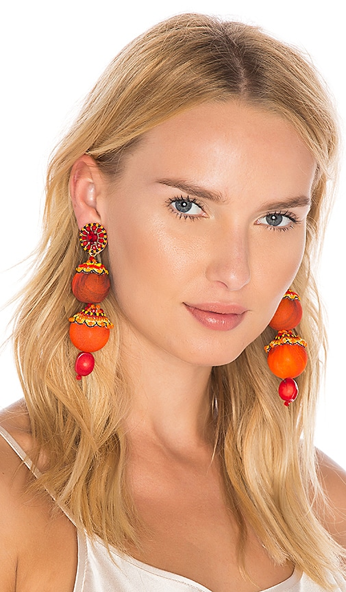 Ranjana Khan Drop Earring in Orange