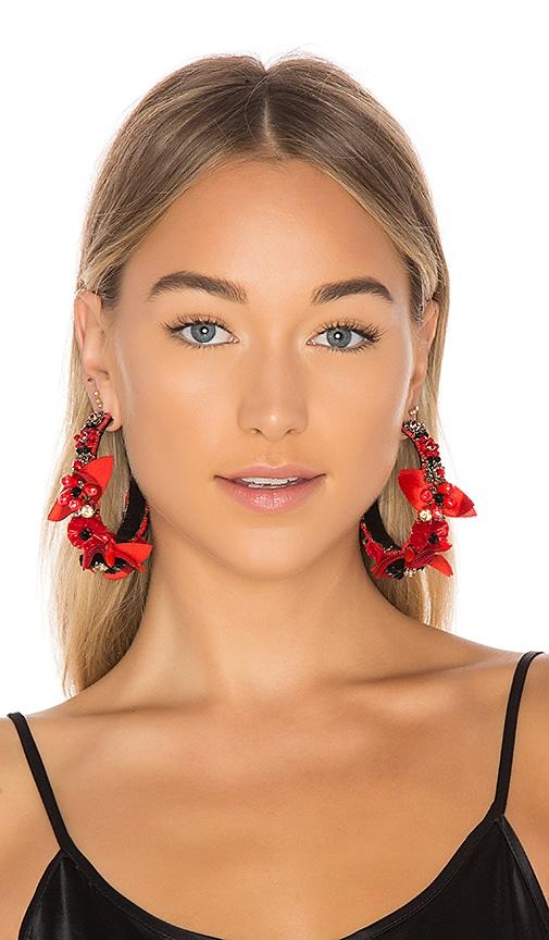 Ranjana Khan Floral Hoops in Red