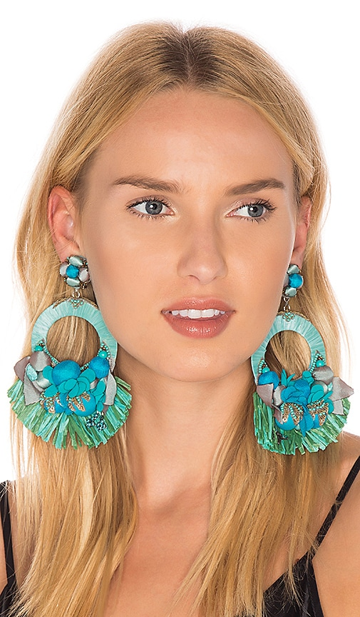 Ranjana Khan Floral Circle Earring in Turquoise