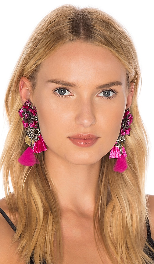 Ranjana Khan Flower Earring in Fuchsia