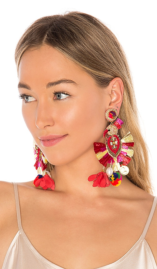 Ranjana Khan Toucan Drop Earring in Red