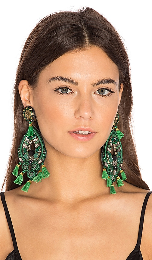 Ranjana Khan Chandelier Earring in Green