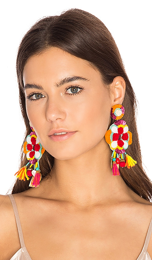 Ranjana Khan Multi Tassel Earring in Red