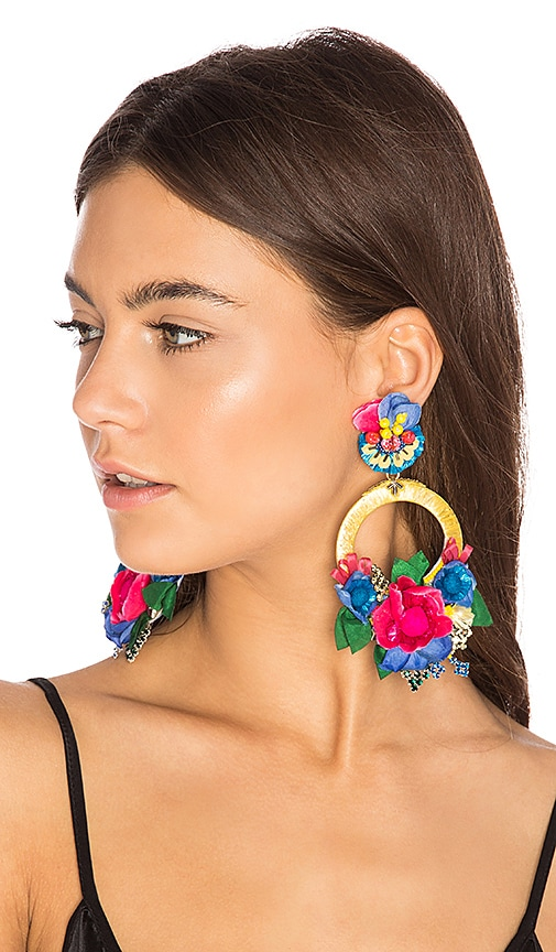 Ranjana Khan Flower Hoop Earring in Blue