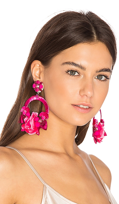 Ranjana Khan Flower Hoop Earring in Pink