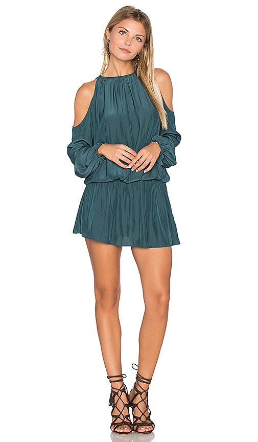 RAMY BROOK Lauren Cold Shoulder Dress in Dark Green