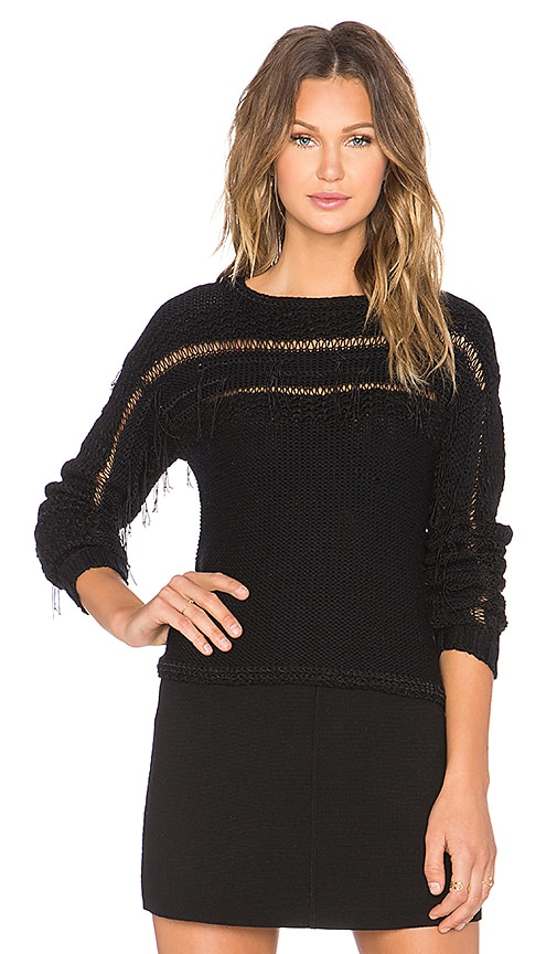 RAMY BROOK Jessica Fringe Sweater in Black