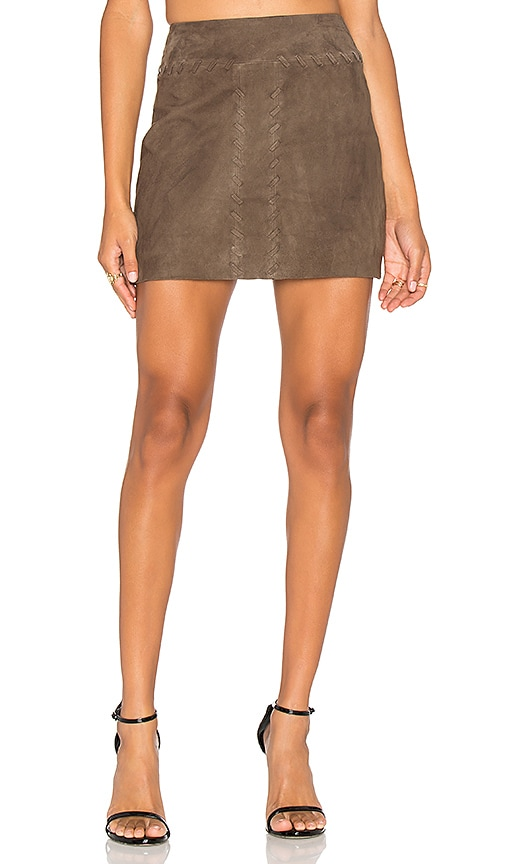 RAMY BROOK Juliana Suede Skirt in Brown