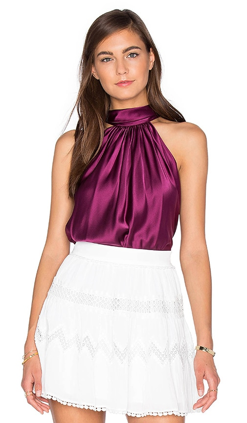 RAMY BROOK Paige Tie Neck Tank in Wine