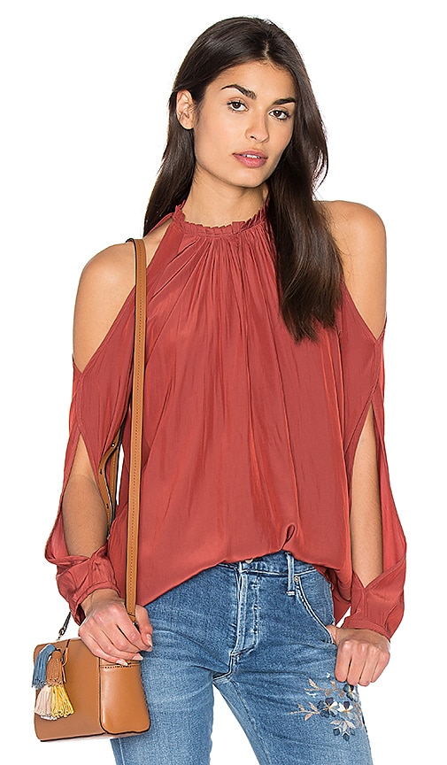 RAMY BROOK Milan Cold Shoulder Top in Rust