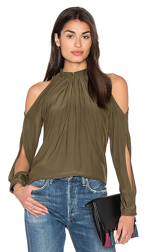 RAMY BROOK Milan Cold Shoulder Top in Olive