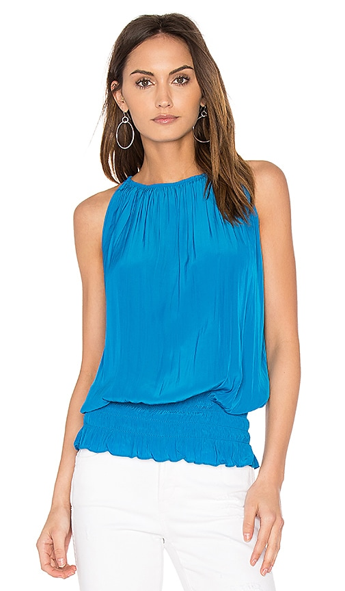 RAMY BROOK Sleeveless Lauren Top in Blue