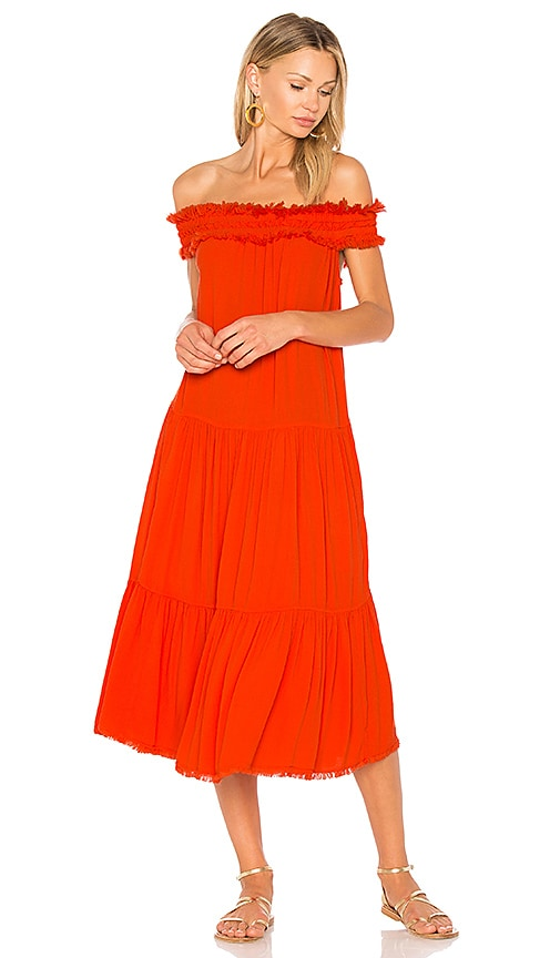 Raquel Allegra Off Shoulder Shirred Dress in Orange