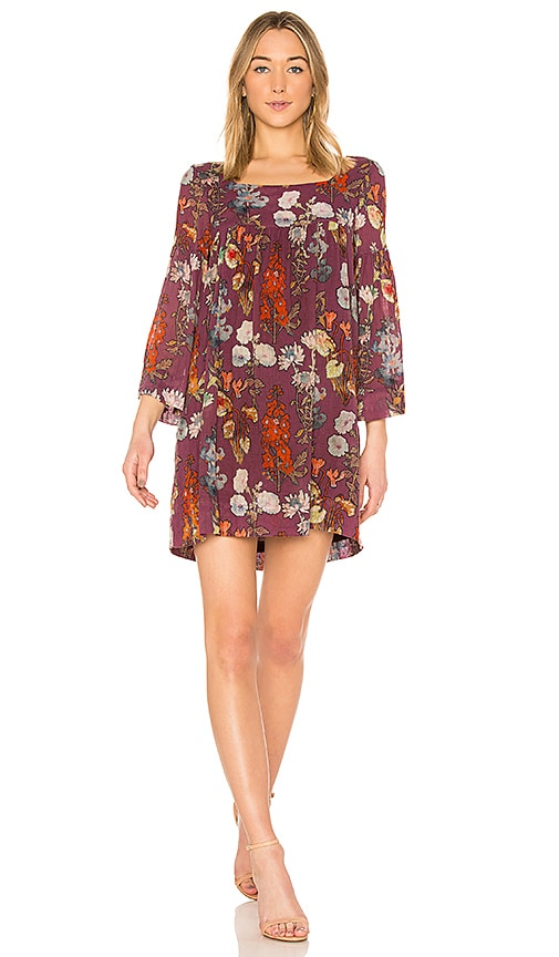 Raquel Allegra Empire Mini Dress in Wine