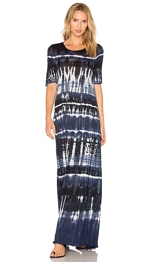 Raquel Allegra Drama Maxi Dress In Navy Tie Dye Revolve