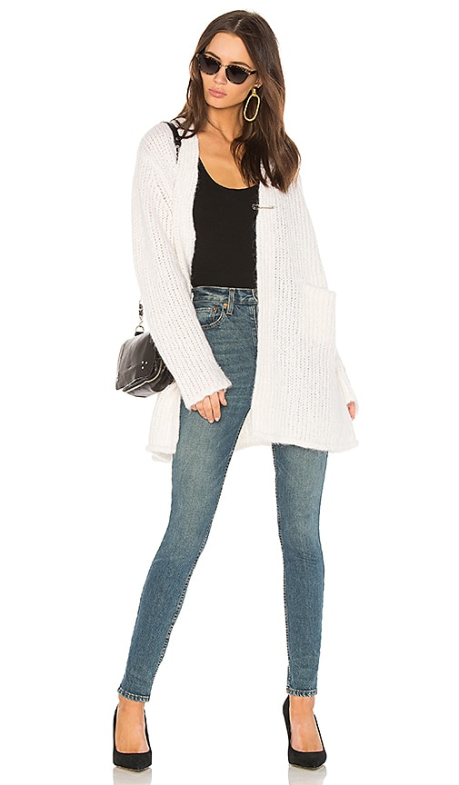 Raquel Allegra Fuzzy Punk Cardigan in White