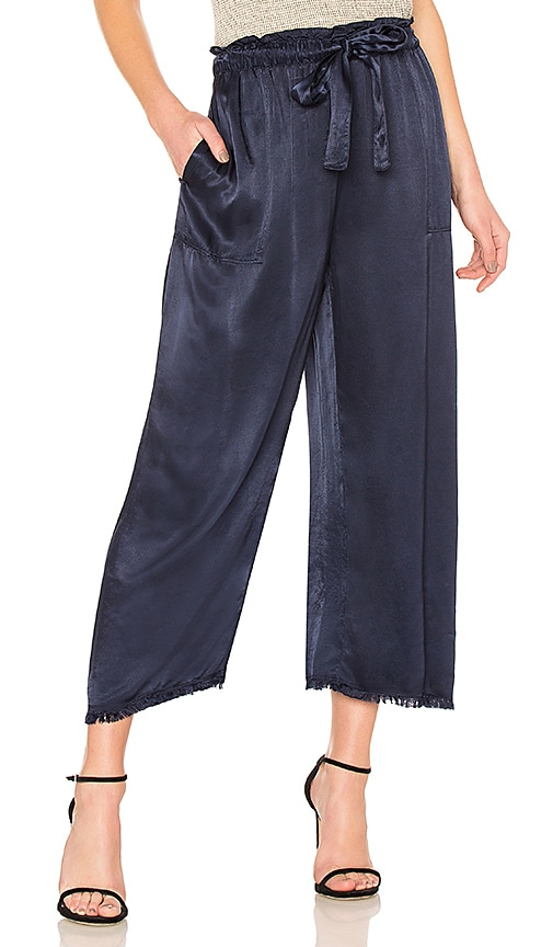 Raquel Allegra Paper Bag Pant in Navy