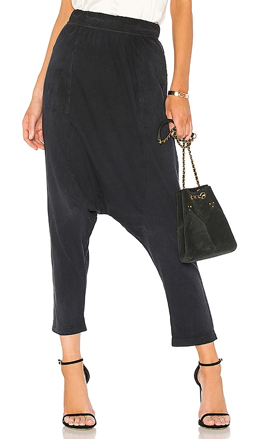 Raquel Allegra Cropped Slouchy Pant in Black