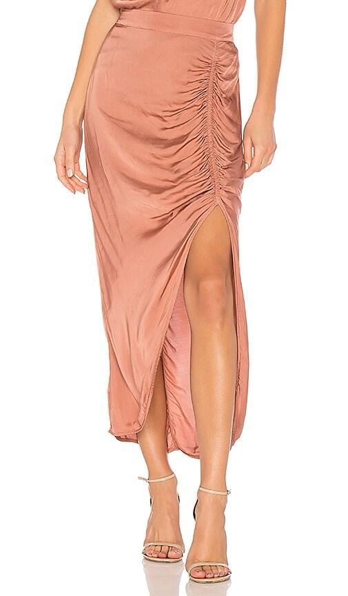 Raquel Allegra Gathered Slit Skirt in Pink