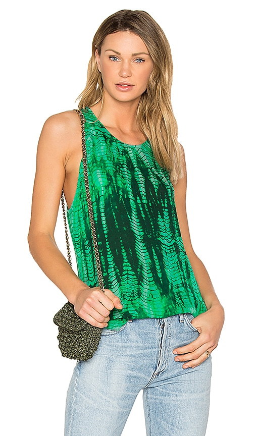 Raquel Allegra Silk Racer Tank in Green