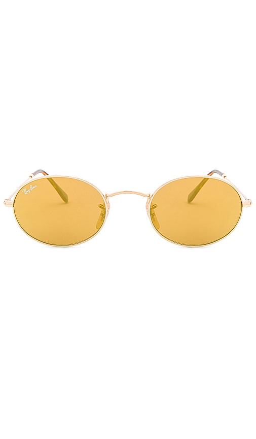 dbf7e313d9 Ray-Ban Oval Flat in Gold   Yellow Flash