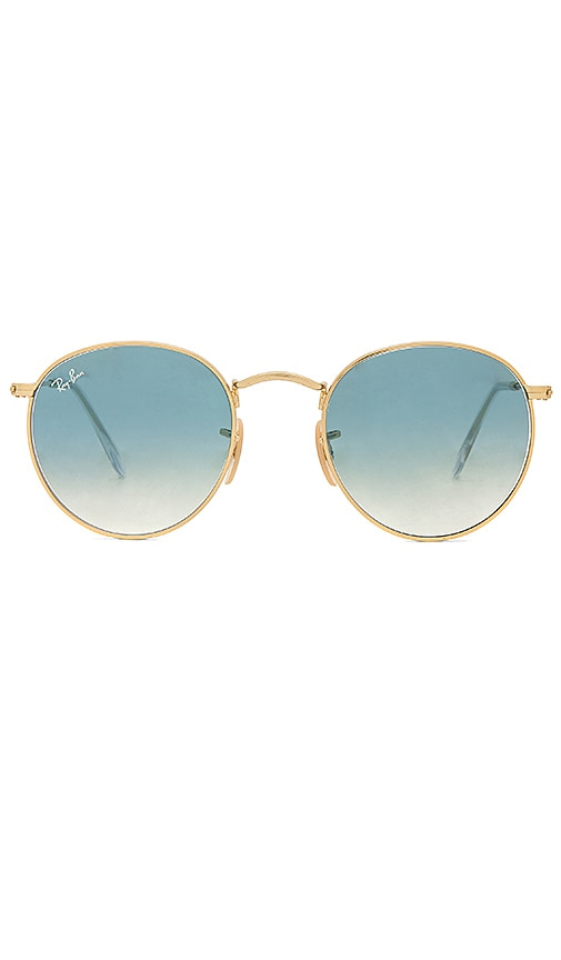 a901ed906 Ray-Ban Round Metal in Gold & Light Blue Gradient | REVOLVE