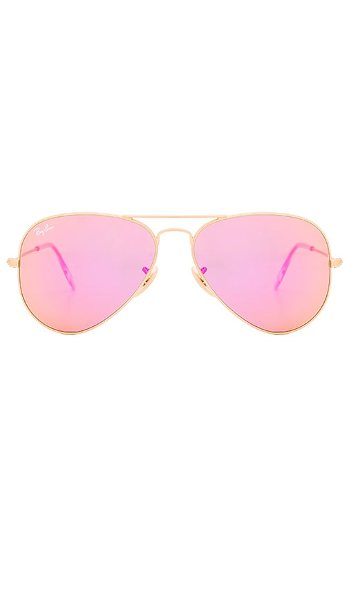 f7240601f0 Ray-Ban Aviator Flash Lenses in Gold   Cyclamen Mirror