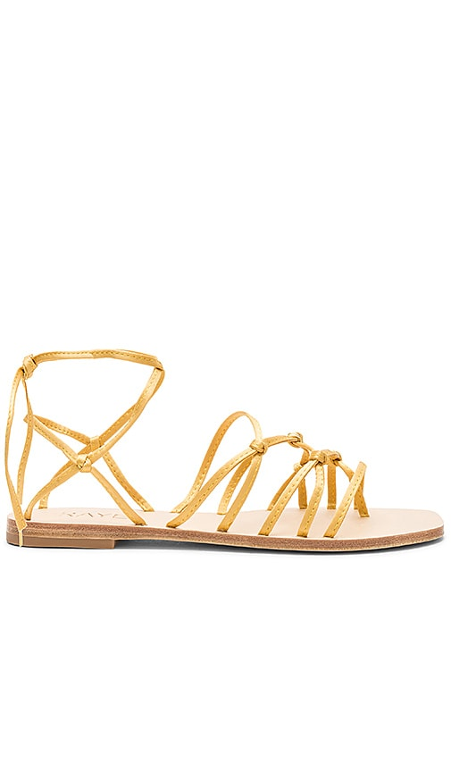 Tilly Sandal in Metallic Gold. - size 6.5 (also in 10,5.5,6,7,7.5,8,8.5,9,9.5) Raye
