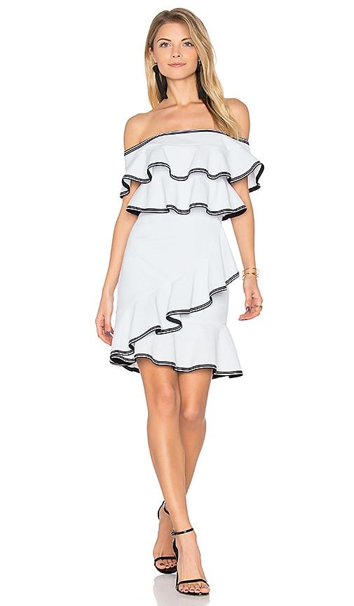 Rebecca Vallance Billie Ruffle Mini Dress in Blue