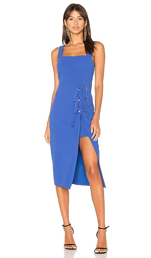 Rebecca Valance Billie Tie Split Midi Dress in Blue