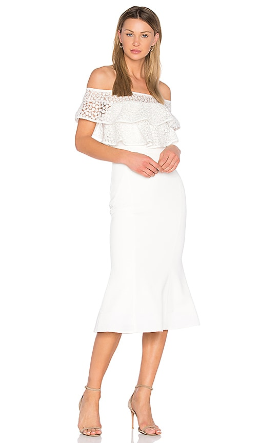 Rebecca Vallance Farina Flare Midi Dress in White