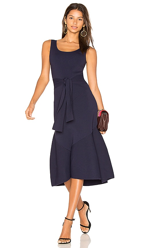 Rebecca Vallance Arellano Tie Waist Dress in Navy