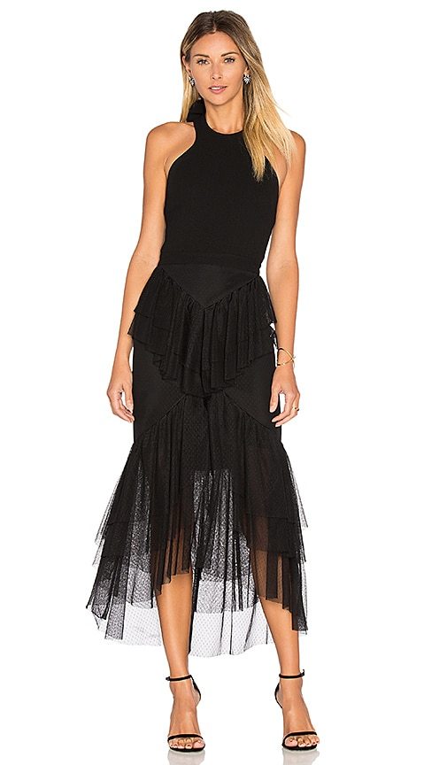 Rebecca Vallance Orlando Bow Back Ruffle Dress in Black