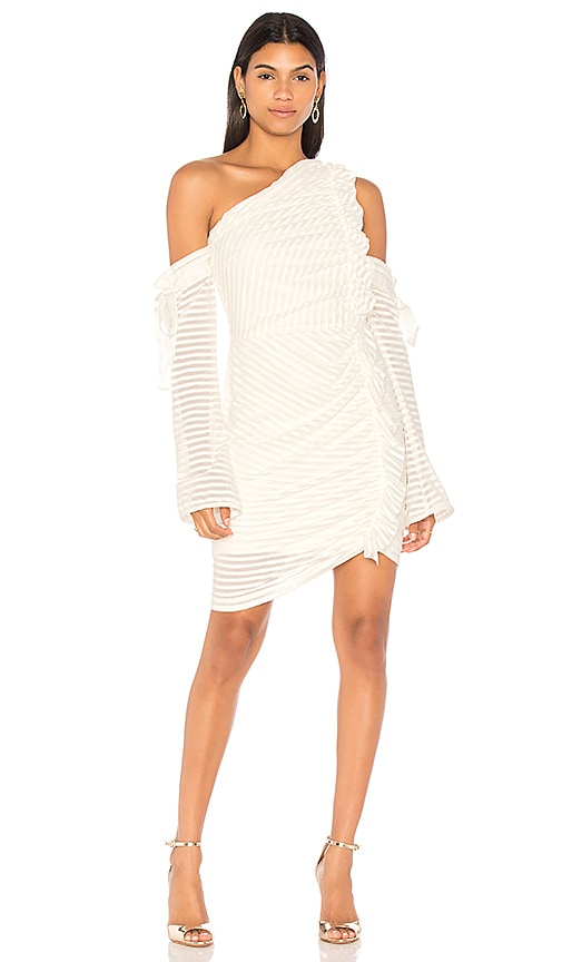 Rebecca Vallance Avila One Shoulder Rouched Dress in Ivory