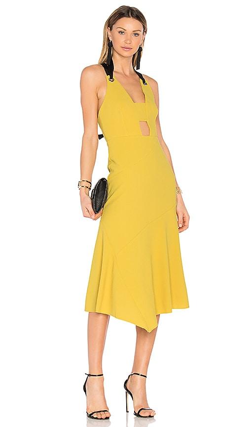 Rebecca Vallance Breakers Plunge Apron Dress in Mustard