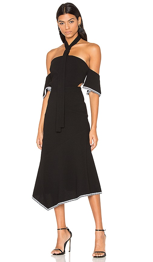 Rebecca Vallance Courtside Halter Midi Dress in Black