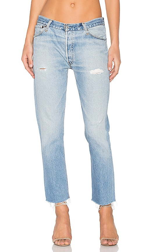 RE/DONE Relaxed Cropped Jeans in Destructed Blue