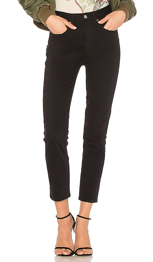Originals High-Rise Double Needle Cropped Jeans, Black
