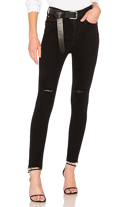 RE/DONE High Rise Ankle Crop Jean in Black Destroy