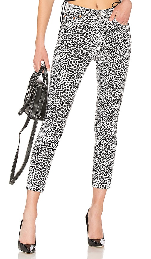 RE/DONE Originals High Rise Ankle Crop Jean in White Cheetah