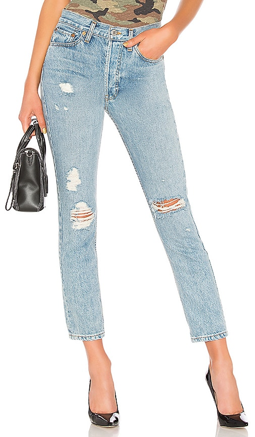 RE/DONE Originals High Rise Straight Jean in Light Destruction