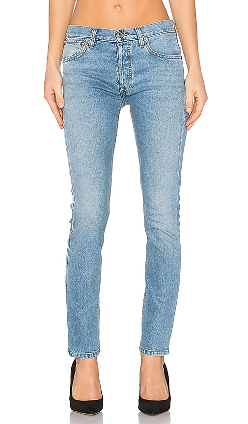 RE/DONE Originals Straight Skinny Jeans in Light Wash