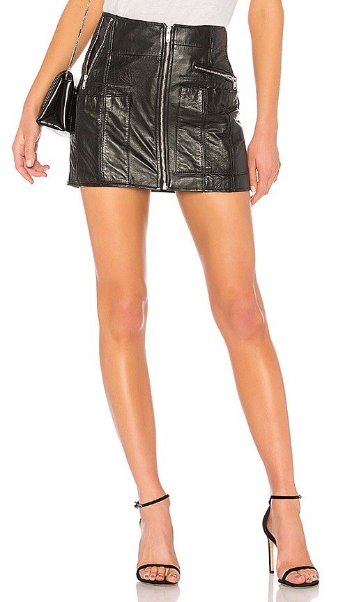 RE/DONE Originals Reconstructed Leather Mini Skirt in Black