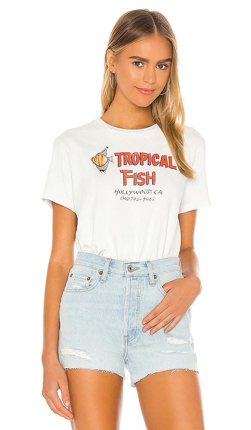 Vintage High Waisted Shorts, Sailor Shorts, Retro Shorts REDONE 70s Loose Tropical Fish Tee in Baby Blue. - size XS also in LMS $125.00 AT vintagedancer.com