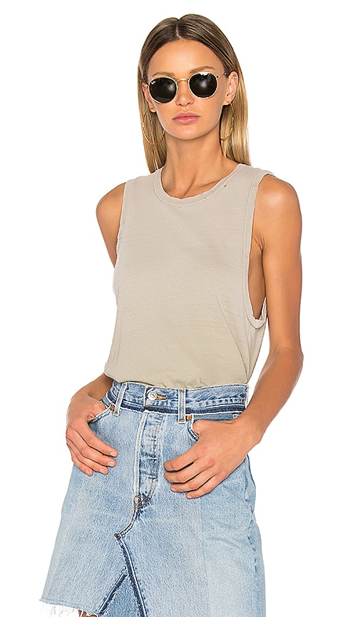 RE/DONE Muscle Tank in Olive